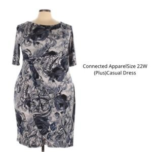 CONNECTED APPAREL black gray dress Plus Size 22W